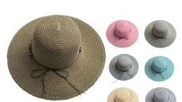 48 Units of Womans Sun Hat With Ribbon - Sun Hats