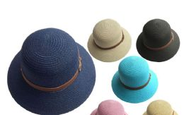 48 Units of Woman Hat Assorted Colors - Sun Hats