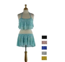 36 Units of 2 Piece Lace Swimsuit On Hanger - Womens Swimwear