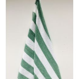24 Units of Economy Stripe Green 30x60 Cabana Beach Towel - Beach Towels