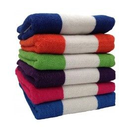 12 Units of BK Terry Cabana Stripe 6 Assorted Colors 30x60 Beach Towel - Beach Towels