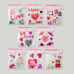 96 Units of Gel Sticker Valentine - Valentine Decorations