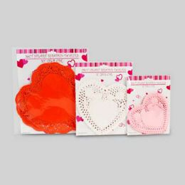 72 Units of Doilies Heart Shape - Valentine Decorations