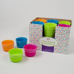 48 Units of 4pk Plastic Salad/cereal Bowl In 4 Asst Colors Brites - Plastic Bowls and Plates