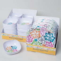 96 Units of Dinnerware Melamine Hibiscus Square Plate/bowl In 48pc Pdq Ea 7x7in Bowl/11in Plate Upc Label - Plastic Bowls and Plates