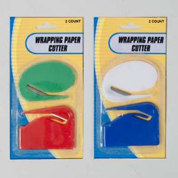 96 Units of Wrapping Paper Cutter 2pk 2styles/colors/pk 12pc - Gift Wrap