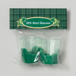 36 Units of Shot Glass 2pk Clear Plastic W/ Green Shamrock Base St Pat - St. Patricks