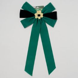 48 Units of Bow Velvet W/glitter Shamrock Green & Black 12.5 X 25in L St Patrick Printed Header Card - St. Patricks