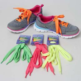 48 Units of 4asst Color Bright Neon Shoelaces - Footwear Accessories