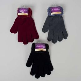 48 Units of Gloves Ladies W/furry Cuff 3ast Colors 42gm/pair 8.5x5in Header Card W/hook - Knitted Stretch Gloves