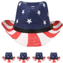 24 Units of American Flag Cowboy Hat - Cowboy & Boonie Hat