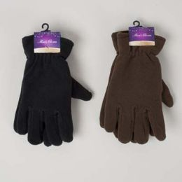 48 Units of Glove Mens Fleece Adult 10x4.5in 70gm/pair Black/dark Brown Header Card W/hook - Fleece Gloves