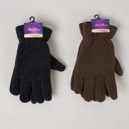 48 Units of Glove Mens Fleece Adult 10x4.5in 70gm/pair Black/dark Brown Header Card W/hook - Fleece Gloves
