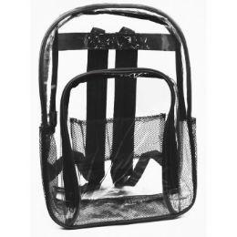 "24 Units of 17"" Clear Backpack In Black - Backpacks 17"""