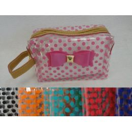 24 Units of Clear Plastic MakE-Up Bag [polka Dots & Bow] - Cosmetic Cases
