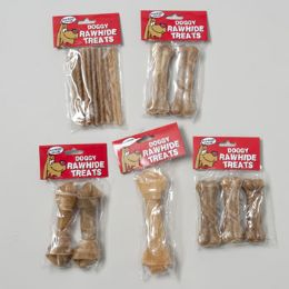 120 Units of 6 Asst Rawhide Natural Dog Chews - Pet Chew Sticks and Rawhide