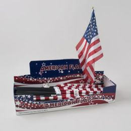 96 Units of Flag American Polyester 18x12 0n 24in Plst Stick In 96pc Pdq - 4th Of July