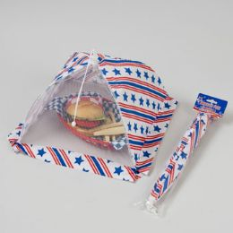 48 Units of Food Umbrella Mesh W/patriotic Print 12x12 Rectangle/patr Pbh - 4th Of July