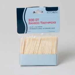 48 Units of Toothpicks Bamboo 200ct 2.5in L In Reseal Bag - Toothpicks