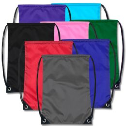 48 Units of 18 Inch Basic Drawstring Bag - 8 Colors - Draw String & Sling Packs