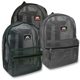 """24 Units of 17 Inch Mesh Backpack - 3 Colors - Backpacks 17"""""""