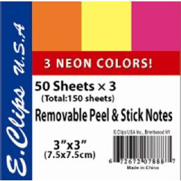 72 Units of Sticky Notes, Neon Rainbow, 3Pk, 50 shts each (2 inners of 36) - Sticky Note & Notepads
