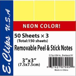 72 Units of Sticky Notes, Neon yellow, 3Pk, 50 shts each - Sticky Note & Notepads