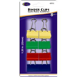 48 Units of Binder Clips, 8pk, Asst. Colors - Clips and Fasteners
