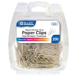 24 Units of Bazic No.1 Regular (33mm) Silver Paper Clips (200/pack) - Clips and Fasteners
