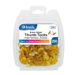24 Units of BAZIC Brass (Gold) Thumb Tack (200/Pack) - Push Pins and Tacks