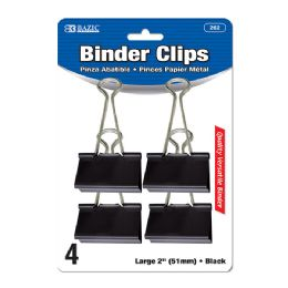 """24 Units of Bazic Large 2"""" (51mm) Black Binder Clip (4/pack) - Clips and Fasteners"""