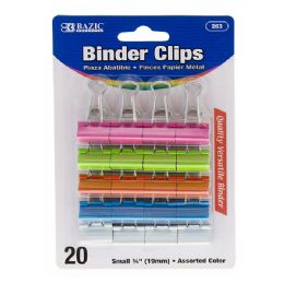 """12 Units of Small 3/4"""" (19mm) Assorted Color Binder Clip (20/pack) - Clips and Fasteners"""