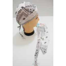 96 Units of Wholesale Skull Caps Motorcycle Hats Fabric White Paisley Print - Bandanas