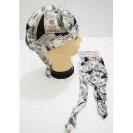 96 Units of Wholesale Skull Caps Motorcycle Hats Fabric 100 Dollar Bill Print - Bandanas