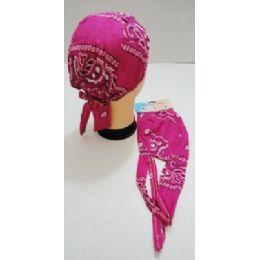 96 Units of Wholesale Skull Caps Motorcycle Hats Fabric Pink Paisley Print - Bandanas