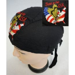 96 Units of Wholesale Skull Caps Motorcycle Hats Born In The Usa Embroidery - Bandanas