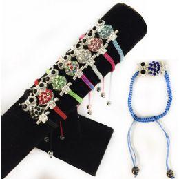 84 Units of Rhinestone Owl Braided Bracelet Adjustable Length - Bracelets