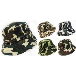 48 Units of Wholesale Camo Bucket Hat with Adjustable Straps - Bucket Hats