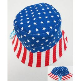 48 Units of Wholesale American Flag Print Bucket Hat - Bucket Hats