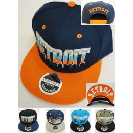 48 Units of Wholesale Snap Back Flat Bill Multi-Color Detroit Assorted Color - Bucket Hats