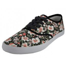 24 Units of Women's Printed Canvas Shoes - Women's Flats
