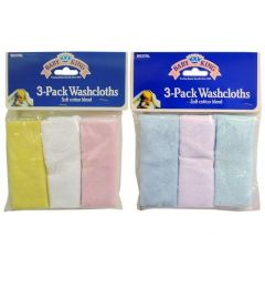 72 Units of Baby Washcloth 3 Packs - Baby Accessories