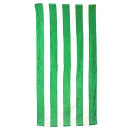 24 Units of Classic Cabana Stripe Beach Towel - Kelly - Beach Towels