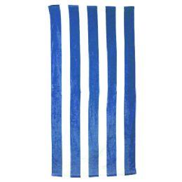 24 Units of Classic Cabana Stripe Beach Towel - Royal - Beach Towels