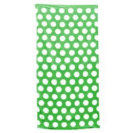 24 Units of Polka Dot Beach Towels - Kelly - Beach Towels