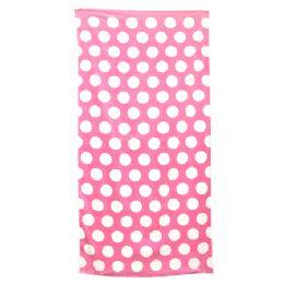 24 Units of Polka Dot Beach Towels - Pink - Beach Towels