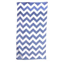 24 Units of Chevron Beach Towel, Navy - Beach Towels