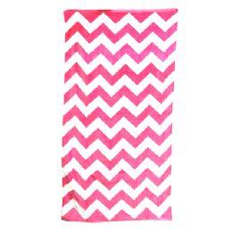 24 Units of Chevron Beach Towel, Pink - Beach Towels