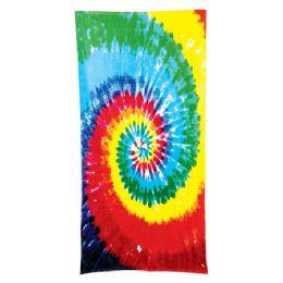 24 Units of Tie Dye Beach Towel - Rainbow - Beach Towels