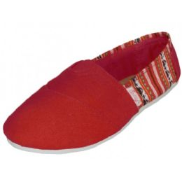 36 Units of Ladies Tom Like Canvas Flat -With Indian Print Red Color - Women's Sneakers